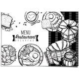 Gráfico del dibujo de la mano del diseño de la plantilla del restaurante de la comida del menú Fotos de archivo libres de regalías