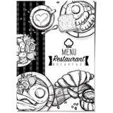 Gráfico del dibujo de la mano del diseño de la plantilla del restaurante de la comida del menú Imagenes de archivo