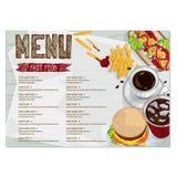 Gráfico del dibujo de la mano del diseño de la plantilla del restaurante de la comida del menú Fotografía de archivo libre de regalías
