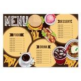 Gráfico del dibujo de la mano del diseño de la plantilla del restaurante de la comida del menú Fotografía de archivo
