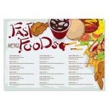 Gráfico del dibujo de la mano del diseño de la plantilla del restaurante de la comida del menú Foto de archivo libre de regalías