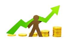 Gráfico del dinero que señala hacia arriba con la persona Fotos de archivo libres de regalías