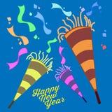 Gráfico del ejemplo de Eve Celebration Trumpet Confetti Vector de la Feliz Año Nuevo Imagen de archivo