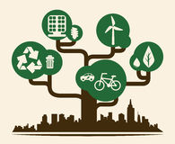 Gráfico del ejemplo eps10 del vector del diseño de la ciudad de Eco Fotos de archivo