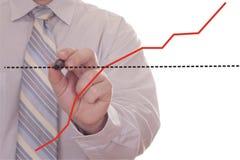 Gráfico del gráfico de la mano del hombre de negocios Fotografía de archivo