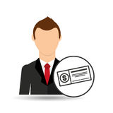 Gráfico del icono del banco del control del hombre de negocios de la historieta ilustración del vector