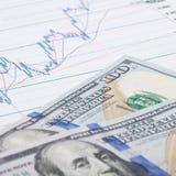 Gráfico del mercado de acción con cientos dólares de billete de banco - ascendente cercano Imagenes de archivo