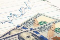 Gráfico del mercado de acción con 100 dólares de billete de banco - tiro ascendente cercano del estudio Imagen filtrada: efecto p Imagenes de archivo