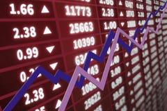 Gráfico del mercado de acción con las flechas Imagen de archivo libre de regalías