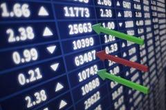 Gráfico del mercado de acción con las flechas Foto de archivo