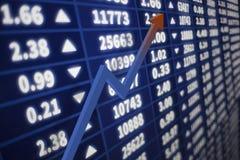 Gráfico del mercado de acción con una flecha que sube Foto de archivo