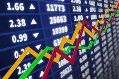Gráfico del mercado de acción con una flecha que sube Imagenes de archivo