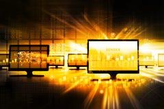 Gráfico del mercado de acción del negocio con el monitor Imagen de archivo libre de regalías