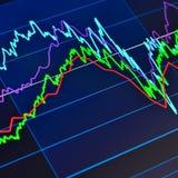 Gráfico del mercado de acción en un ordenador de la tablilla fotos de archivo libres de regalías