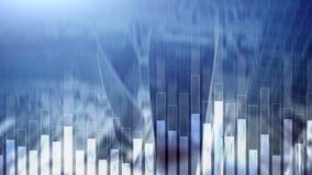Gráfico del negocio y de las finanzas en fondo borroso Concepto del comercio, de la inversión y de la economía ilustración del vector