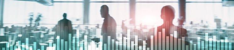 Gráfico del negocio y de las finanzas en fondo borroso Concepto del comercio, de la inversión y de la economía Portada del sitio  foto de archivo libre de regalías