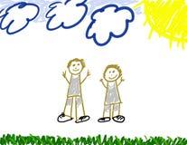 Gráfico del niño de se y del papá ilustración del vector