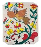 Gráfico del niño en la madera contrachapada - pájaro fantástico Imágenes de archivo libres de regalías