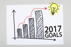Gráfico del plan del crecimiento del Año Nuevo de las metas 2017 Imagen de archivo libre de regalías