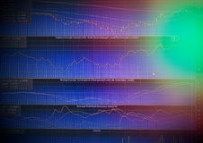 Gráfico del precio y del indicador de la acción en la pantalla del LED Foto de archivo