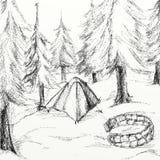 Gráfico del sitio para acampar libre illustration