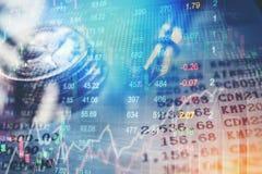 Gráfico del stoc financiero del extracto del análisis del indicador del mercado de acción Fotos de archivo libres de regalías