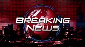 Gráfico del título de la difusión del ` de las noticias de última hora del ` en rojo de giro animado del fondo del globo ilustración del vector