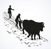 Gráfico del vector Agricultura primitiva Campo tratado campesinos libre illustration
