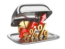 Gráfico, diagrama e sinais de por cento dourados em um restaurante quadrado c Foto de Stock Royalty Free