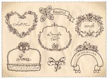 Gráfico dibujado mano retra de la boda del estilo en un papel. Imagenes de archivo