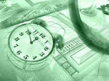 Gráfico, dinero y reloj, collage (verde) imágenes de archivo libres de regalías