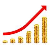 Gráfico do crescimento das moedas de ouro isolado no vetor branco Imagens de Stock Royalty Free