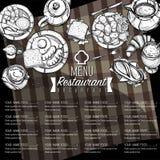 Gráfico do desenho da mão do projeto do molde do restaurante do alimento do menu Imagens de Stock