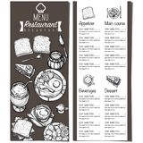 Gráfico do desenho da mão do projeto do molde do restaurante do alimento do menu Foto de Stock