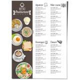 Gráfico do desenho da mão do projeto do molde do restaurante do alimento do menu Imagem de Stock