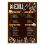 Gráfico do desenho da mão do projeto do molde do restaurante do alimento do menu Fotos de Stock Royalty Free