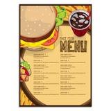 Gráfico do desenho da mão do projeto do molde do restaurante do alimento do menu Foto de Stock Royalty Free