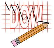 Gráfico do dow que vai para baixo ilustração stock