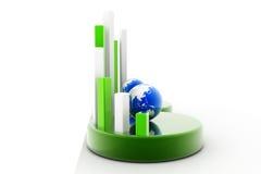 Gráfico do globo e de negócio Imagens de Stock