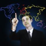 Gráfico do mapa de mundo do desenho do homem de negócio Fotos de Stock