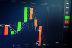 gráfico do mercado de troca que analisa o mau monetário da riqueza do desenvolvimento do computador do fim do relatório da carta  Imagens de Stock Royalty Free