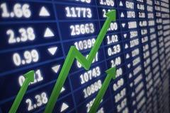 Gráfico do mercado de valores de ação com uma seta que vai acima Foto de Stock Royalty Free