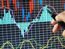 Gráfico do mercado de valores de acção Fotografia de Stock Royalty Free