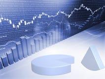 Gráfico do mercado de valores de acção com carta de torta Ilustração do Vetor