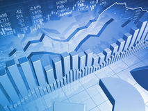Gráfico do mercado de valores de acção com cartas de barra Ilustração Stock