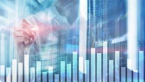 Gráfico do negócio e da finança no fundo borrado Conceito da troca, do investimento e da economia imagem de stock