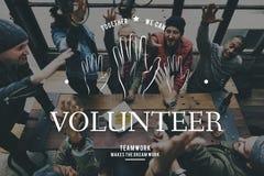 Gráfico do serviço comunitário do apoio do voluntário das mãos amiga imagem de stock