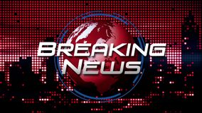 Gráfico do título da transmissão do ` das notícias de última hora do ` no vermelho de giro animado do fundo do globo ilustração do vetor