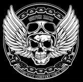 Gráfico do T do emblema do crânio do motociclista do vintage Imagem de Stock