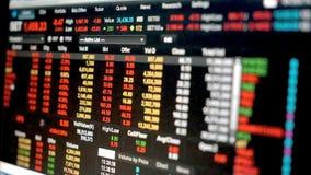 Gráfico dos dados da carta financeira do mercado de valores de ação, dados do mercado de valores de ação na exposição de diodo em vídeos de arquivo